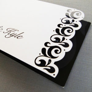 Lasercut trim detail for Wedding Invite