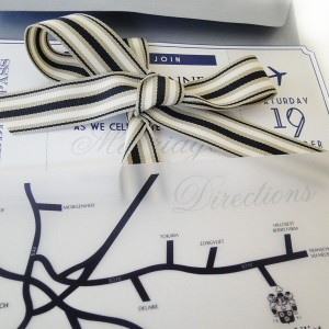 Navy, Silver & White Wedding Invitations